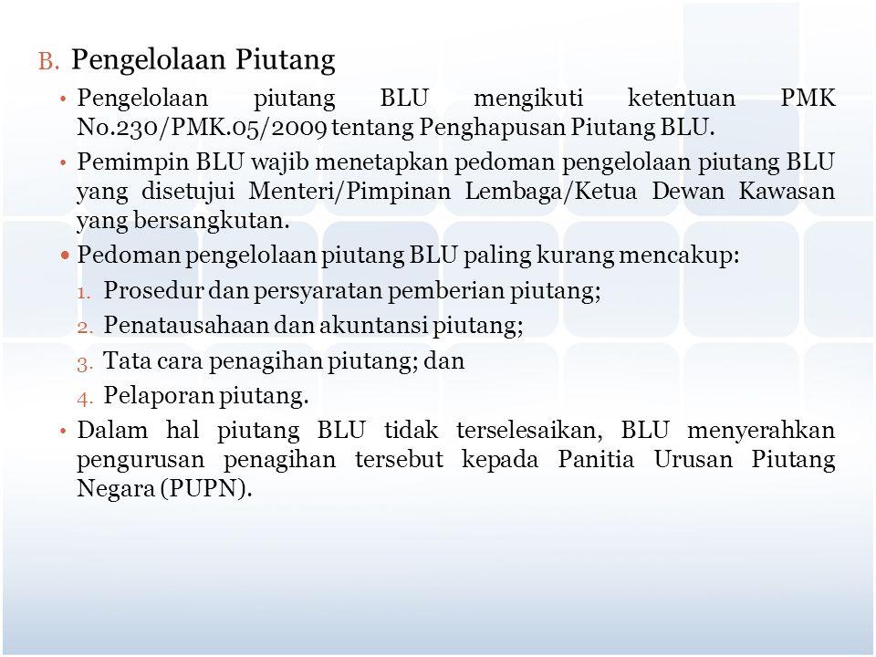B. Pengelolaan Piutang Pengelolaan piutang BLU mengikuti ketentuan PMK No.230/PMK.05/2009 tentang Penghapusan Piutang BLU. Pemimpin BLU wajib menetapk