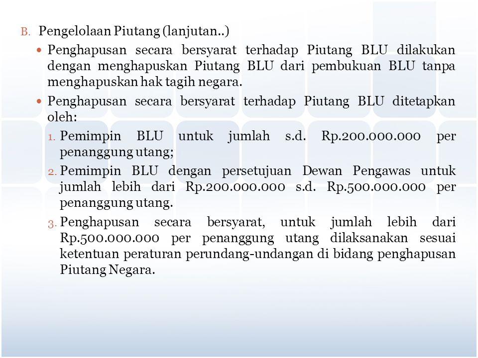 B. Pengelolaan Piutang (lanjutan..) Penghapusan secara bersyarat terhadap Piutang BLU dilakukan dengan menghapuskan Piutang BLU dari pembukuan BLU tan