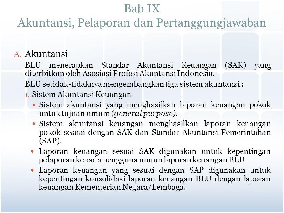 Bab IX Akuntansi, Pelaporan dan Pertanggungjawaban A. Akuntansi BLU menerapkan Standar Akuntansi Keuangan (SAK) yang diterbitkan oleh Asosiasi Profesi