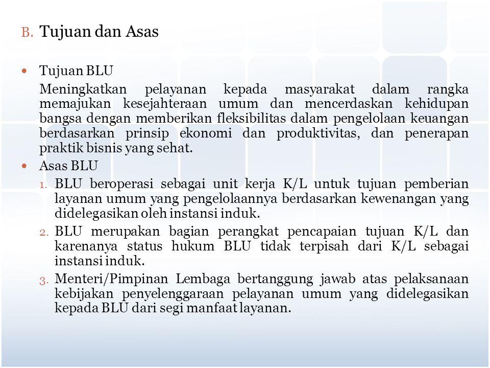 B. Tujuan dan Asas Tujuan BLU Meningkatkan pelayanan kepada masyarakat dalam rangka memajukan kesejahteraan umum dan mencerdaskan kehidupan bangsa den