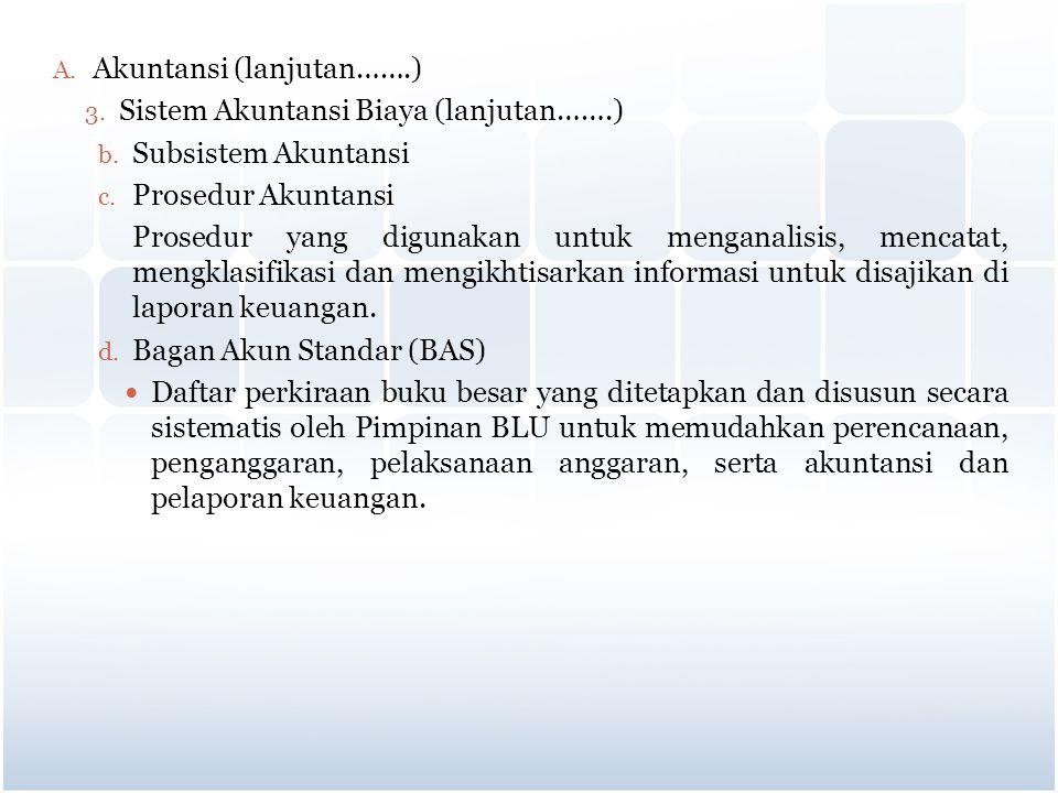A. Akuntansi (lanjutan…….) 3. Sistem Akuntansi Biaya (lanjutan…….) b. Subsistem Akuntansi c. Prosedur Akuntansi Prosedur yang digunakan untuk menganal