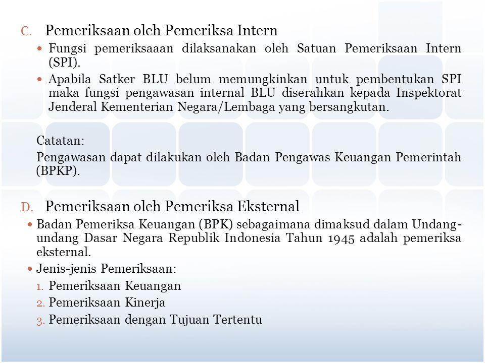 C. Pemeriksaan oleh Pemeriksa Intern Fungsi pemeriksaaan dilaksanakan oleh Satuan Pemeriksaan Intern (SPI). Apabila Satker BLU belum memungkinkan untu