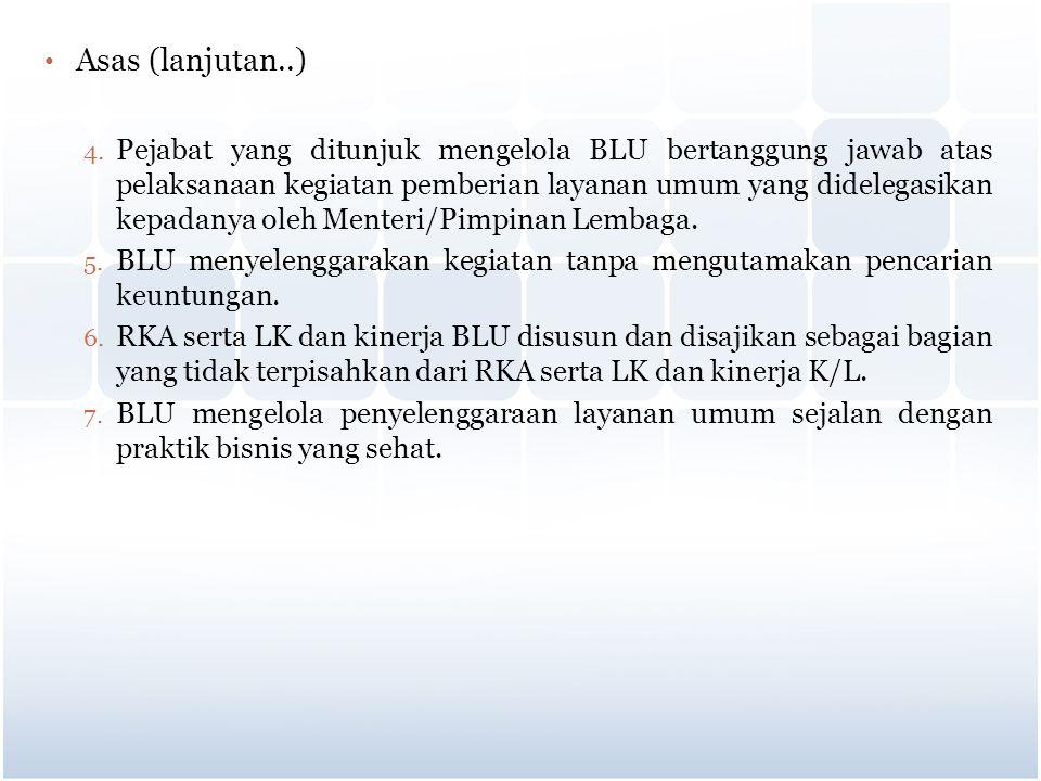 Asas (lanjutan..) 4. Pejabat yang ditunjuk mengelola BLU bertanggung jawab atas pelaksanaan kegiatan pemberian layanan umum yang didelegasikan kepadan