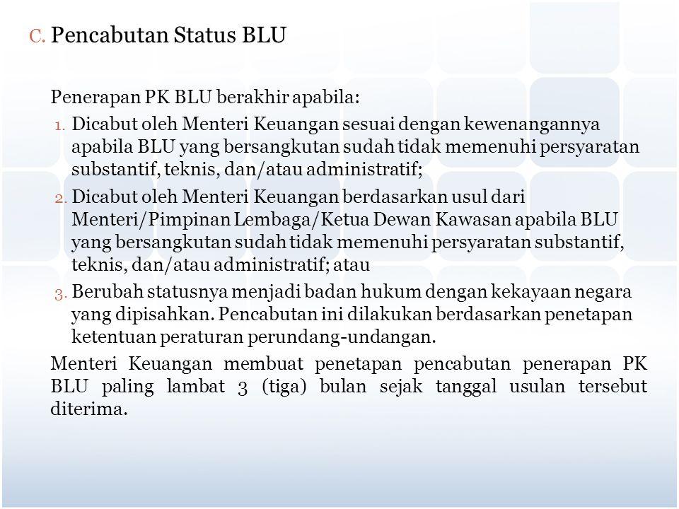 C. Pencabutan Status BLU Penerapan PK BLU berakhir apabila: 1. Dicabut oleh Menteri Keuangan sesuai dengan kewenangannya apabila BLU yang bersangkutan