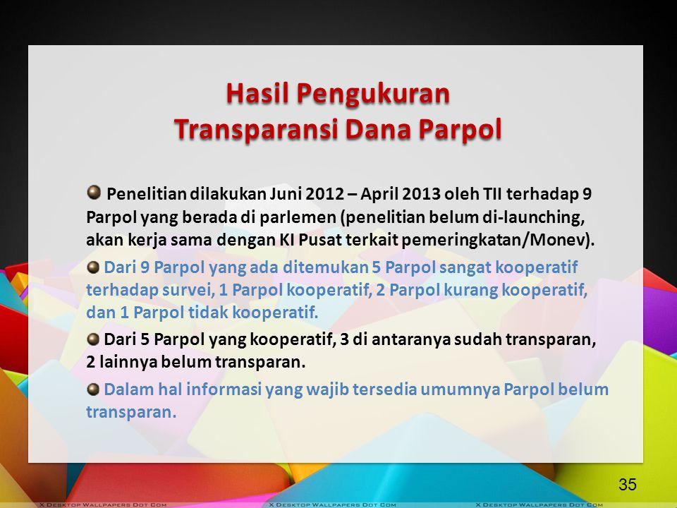 Hasil Pengukuran Transparansi Dana Parpol Penelitian dilakukan Juni 2012 – April 2013 oleh TII terhadap 9 Parpol yang berada di parlemen (penelitian b