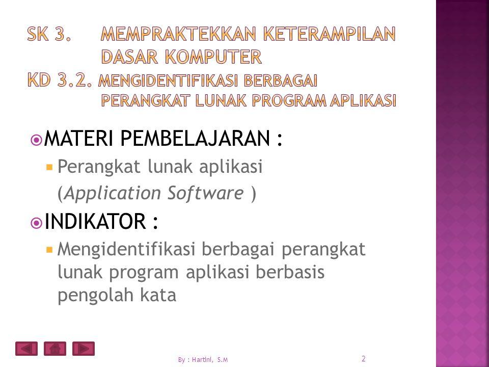  MATERI PEMBELAJARAN :  Perangkat lunak aplikasi (Application Software )  INDIKATOR :  Mengidentifikasi berbagai perangkat lunak program aplikasi berbasis pengolah kata 2 By : Hartini, S.M