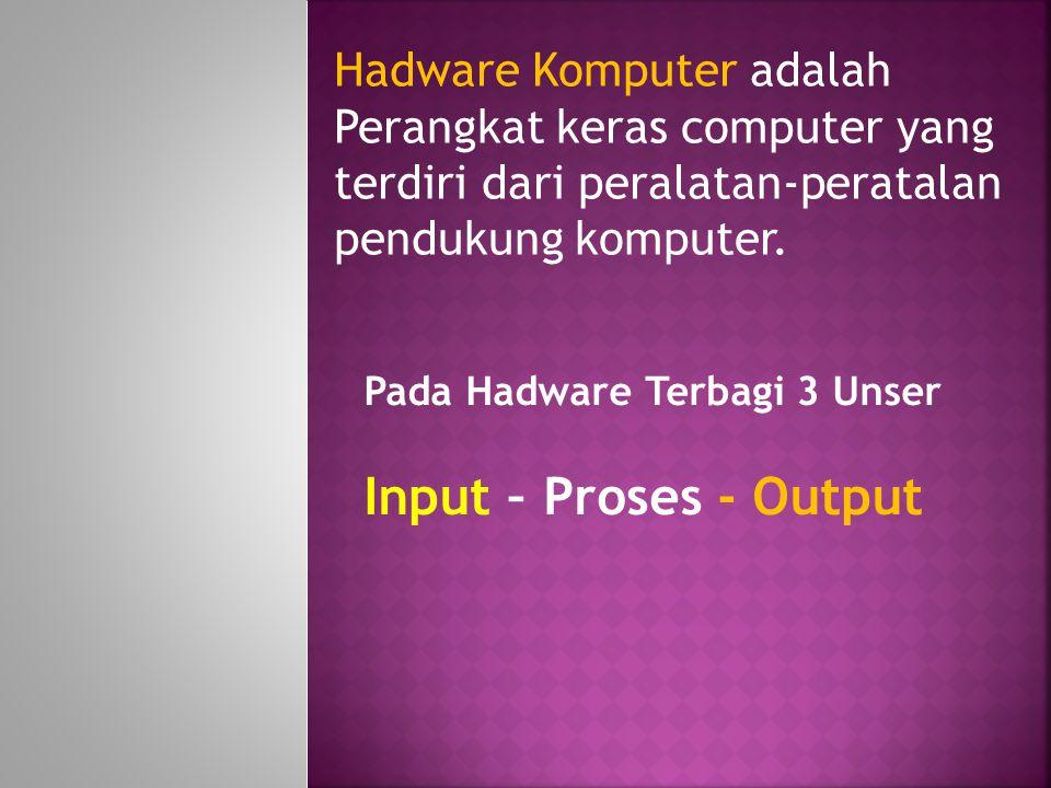 Hadware Komputer adalah Perangkat keras computer yang terdiri dari peralatan-peratalan pendukung komputer.