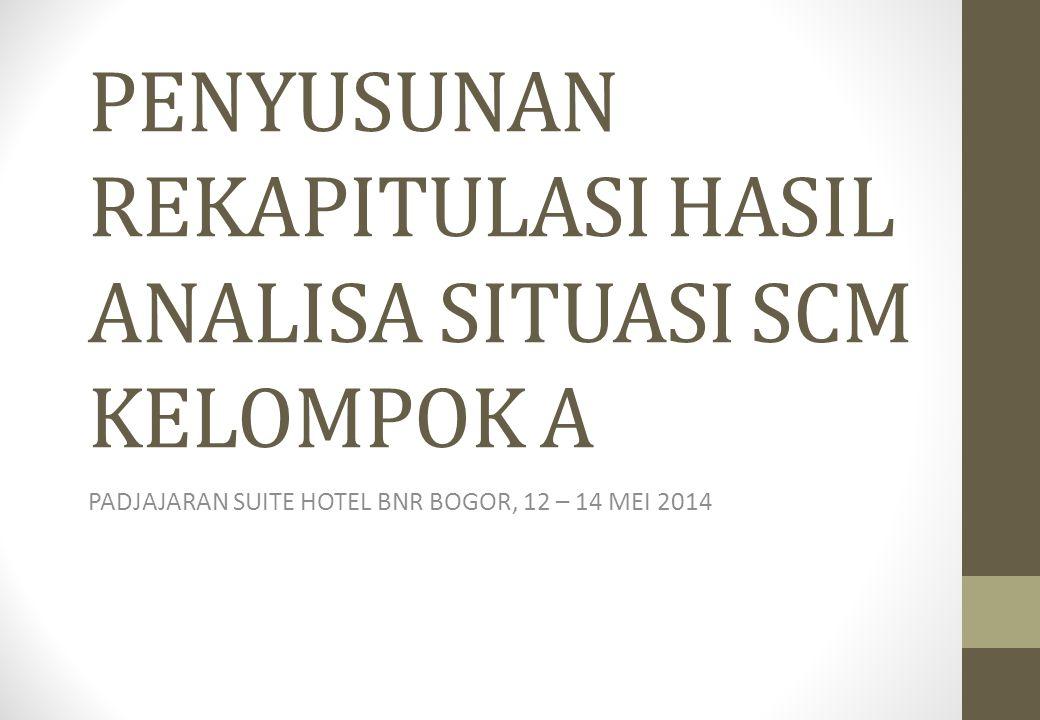 PENYUSUNAN REKAPITULASI HASIL ANALISA SITUASI SCM KELOMPOK A PADJAJARAN SUITE HOTEL BNR BOGOR, 12 – 14 MEI 2014