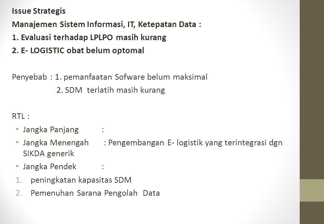 Issue Strategis Manajemen Sistem Informasi, IT, Ketepatan Data : 1. Evaluasi terhadap LPLPO masih kurang 2. E- LOGISTIC obat belum optomal Penyebab :