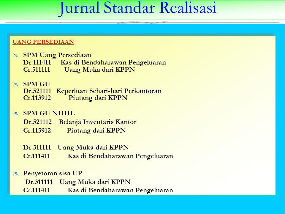 Jurnal Standar Realisasi UANG PERSEDIAAN  SPM Uang Persediaan Dr.111411Kas di Bendaharawan Pengeluaran Cr.311111 Uang Muka dari KPPN  SPM GU Dr.5211