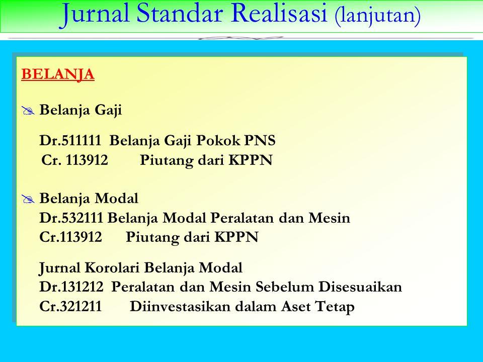 Jurnal Standar Realisasi (lanjutan) BELANJA  Belanja Gaji Dr.511111 Belanja Gaji Pokok PNS Cr. 113912 Piutang dari KPPN  Belanja Modal Dr.532111 Bel