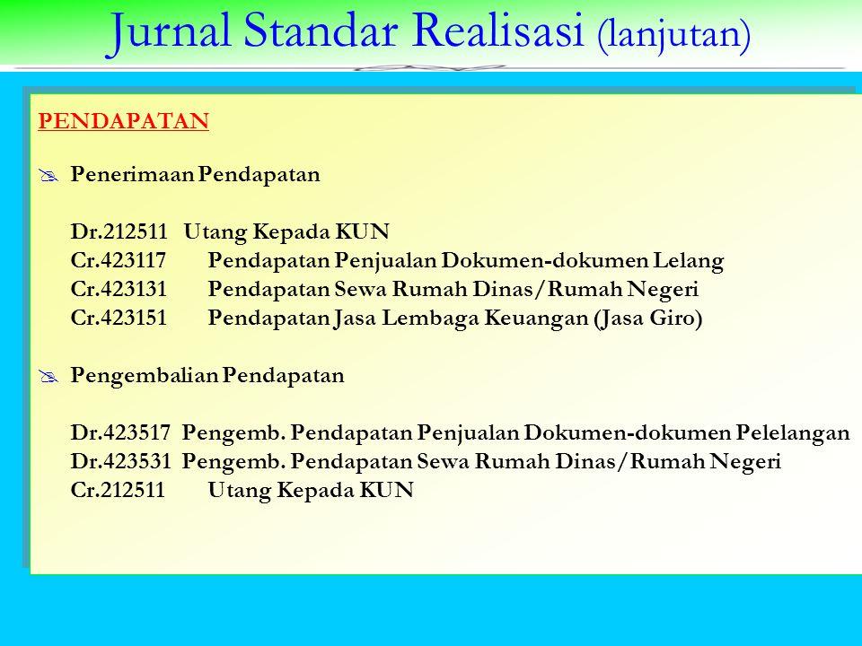 Jurnal Standar Realisasi (lanjutan) PENDAPATAN  Penerimaan Pendapatan Dr.212511 Utang Kepada KUN Cr.423117 Pendapatan Penjualan Dokumen-dokumen Lelan