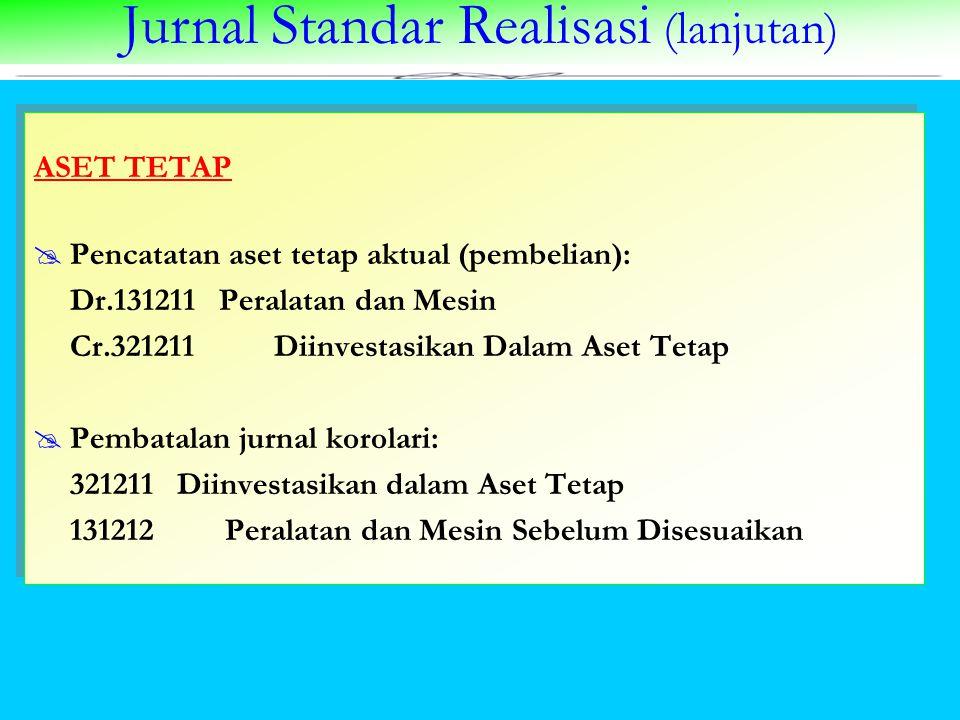 Jurnal Standar Realisasi (lanjutan) ASET TETAP  Pencatatan aset tetap aktual (pembelian): Dr.131211 Peralatan dan Mesin Cr.321211 Diinvestasikan Dala