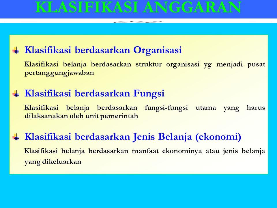 KLASIFIKASI ANGGARAN Klasifikasi berdasarkan Organisasi Klasifikasi belanja berdasarkan struktur organisasi yg menjadi pusat pertanggungjawaban Klasif