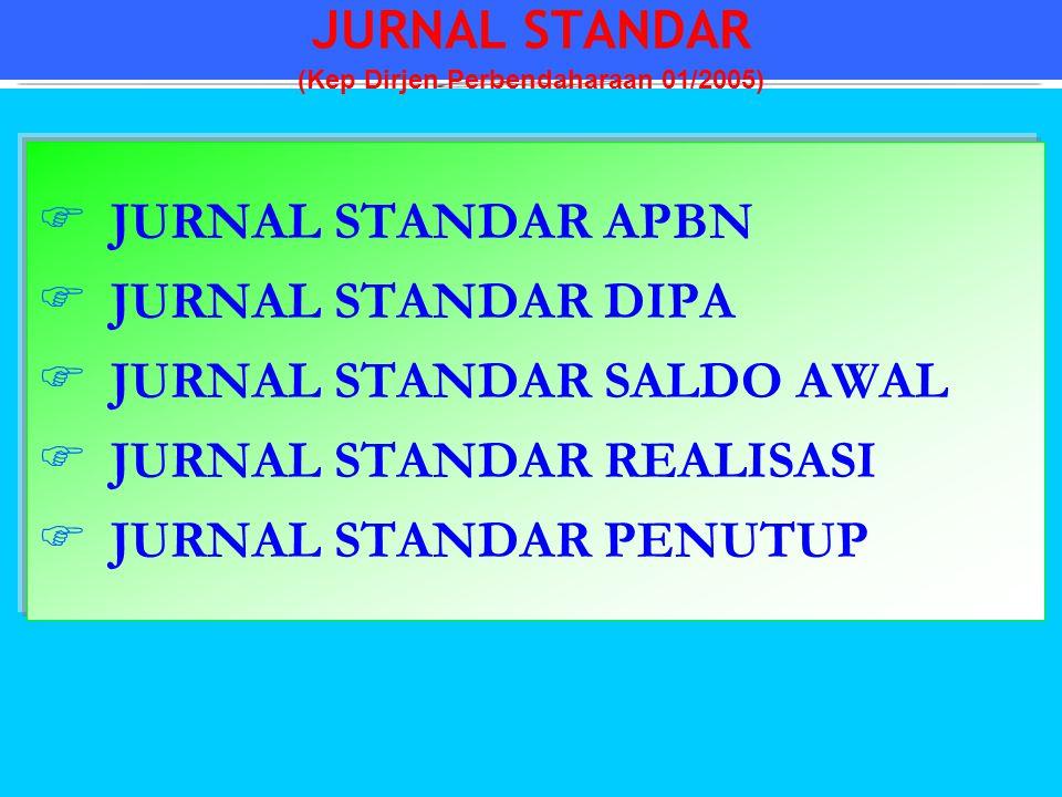  JURNAL STANDAR APBN  JURNAL STANDAR DIPA  JURNAL STANDAR SALDO AWAL  JURNAL STANDAR REALISASI  JURNAL STANDAR PENUTUP JURNAL STANDAR (Kep Dirjen
