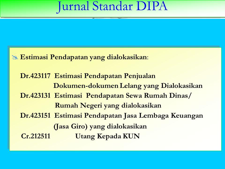 Jurnal Standar DIPA  Estimasi Pendapatan yang dialokasikan: Dr.423117 Estimasi Pendapatan Penjualan Dokumen-dokumen Lelang yang Dialokasikan Dr.42313