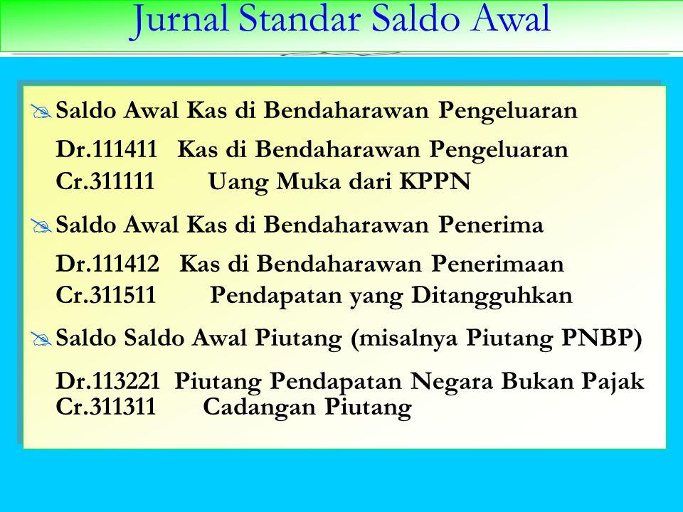 Jurnal Standar Saldo Awal  Saldo Awal Kas di Bendaharawan Pengeluaran Dr.111411 Kas di Bendaharawan Pengeluaran Cr.311111 Uang Muka dari KPPN  Saldo