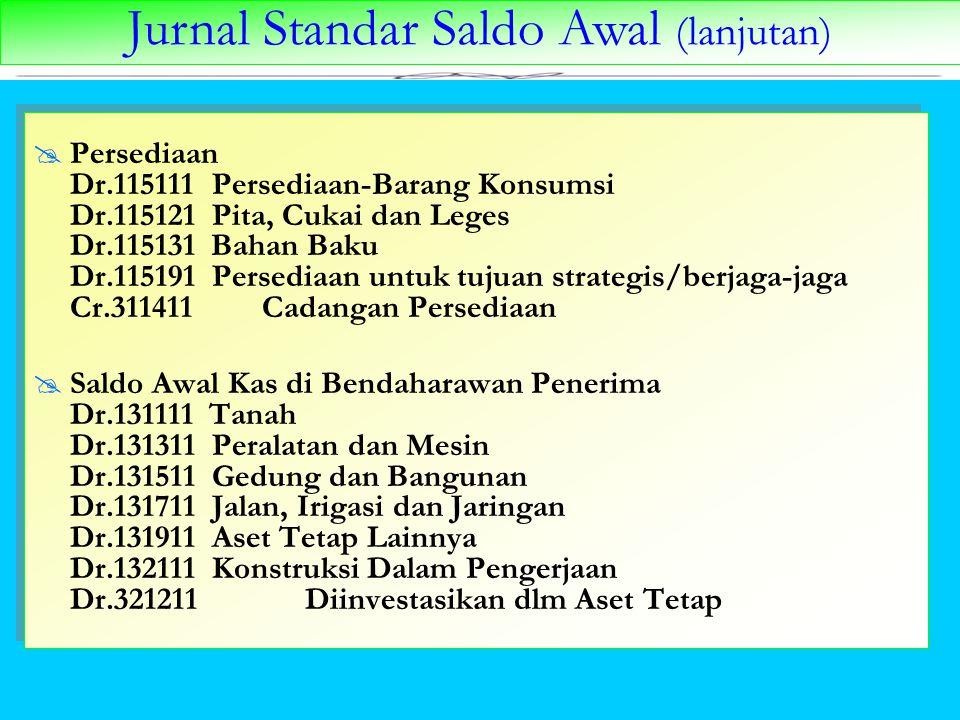 Jurnal Standar Saldo Awal (lanjutan)  Persediaan Dr.115111 Persediaan-Barang Konsumsi Dr.115121 Pita, Cukai dan Leges Dr.115131 Bahan Baku Dr.115191
