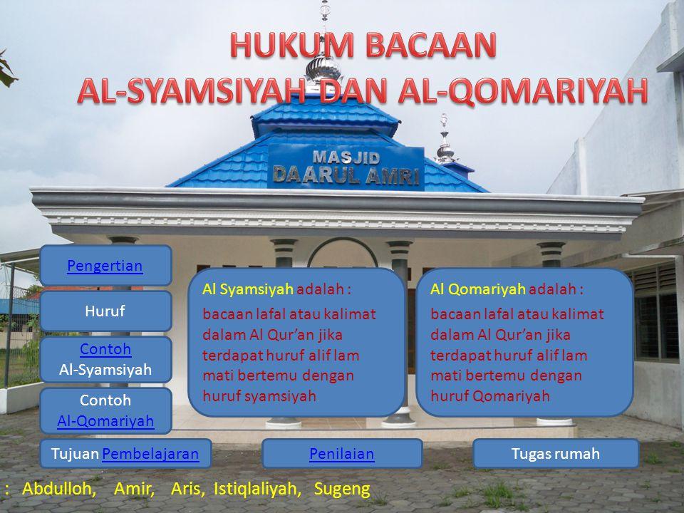 Pengertian Huruf Contoh Al-Syamsiyah Contoh Al-Qomariyah Tugas rumahPenilaianTujuan PembelajaranPembelajaran Kelompok 1 : Abdulloh, Amir, Aris, Istiqlaliyah, Sugeng Al Syamsiyah adalah : bacaan lafal atau kalimat dalam Al Qur'an jika terdapat huruf alif lam mati bertemu dengan huruf syamsiyah.