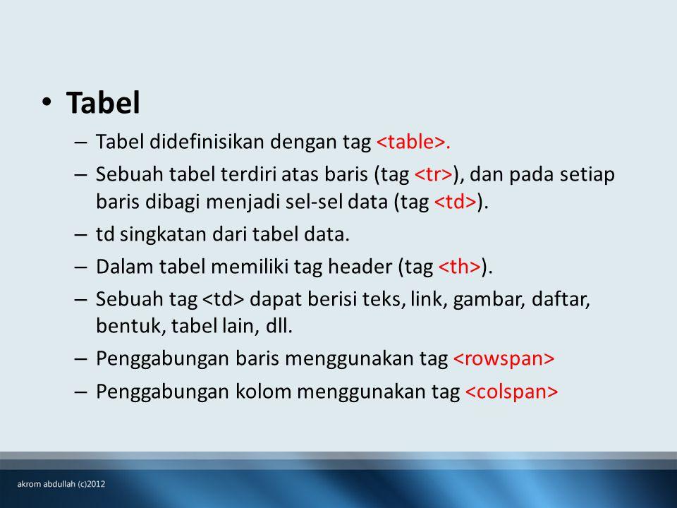 Tabel – Tabel didefinisikan dengan tag.