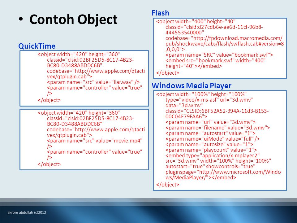 Contoh Object QuickTime Flash Windows Media Player