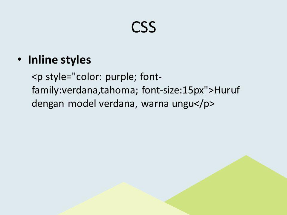 CSS Inline styles Huruf dengan model verdana, warna ungu