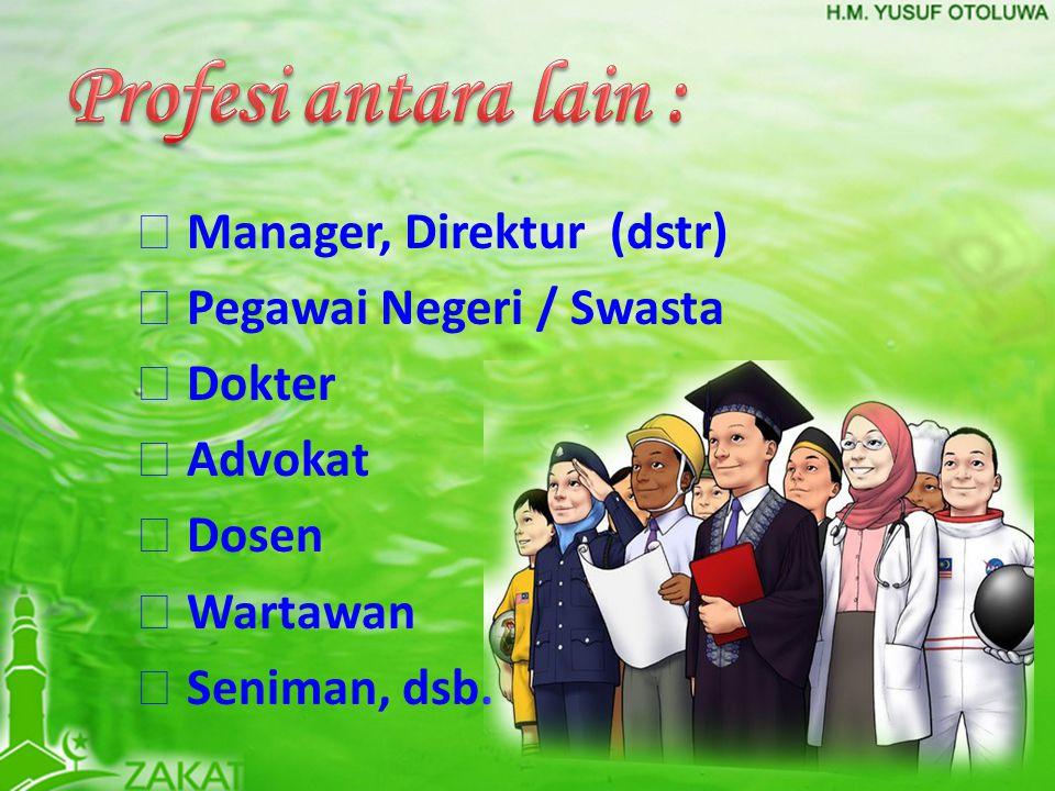  Manager, Direktur (dstr)  Pegawai Negeri / Swasta  Dokter  Advokat  Dosen  Wartawan  Seniman, dsb.