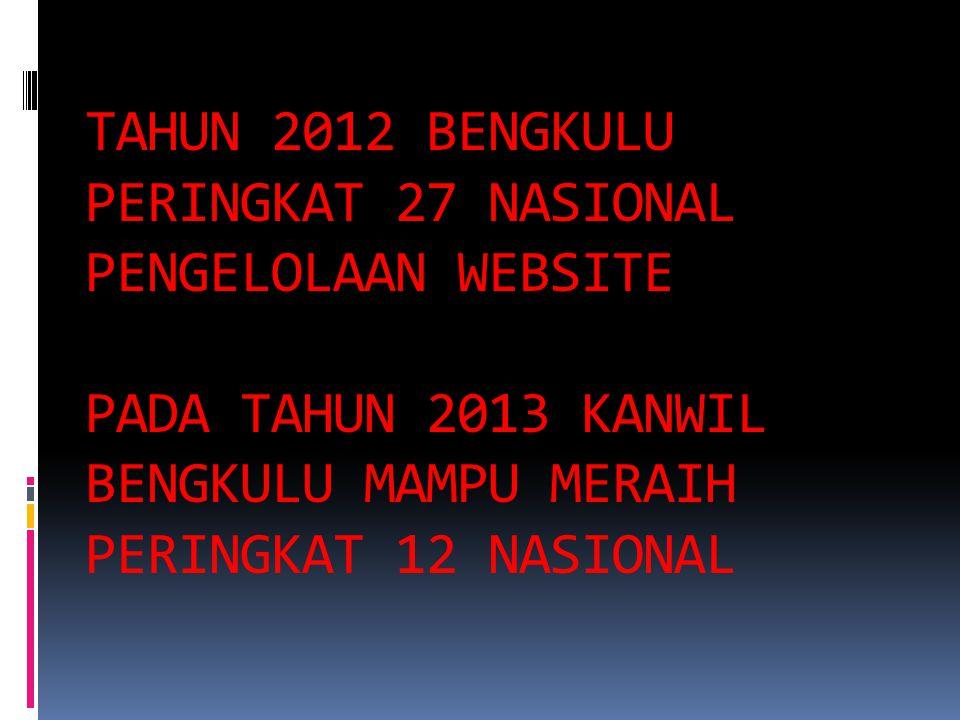 TAHUN 2012 BENGKULU PERINGKAT 27 NASIONAL PENGELOLAAN WEBSITE PADA TAHUN 2013 KANWIL BENGKULU MAMPU MERAIH PERINGKAT 12 NASIONAL