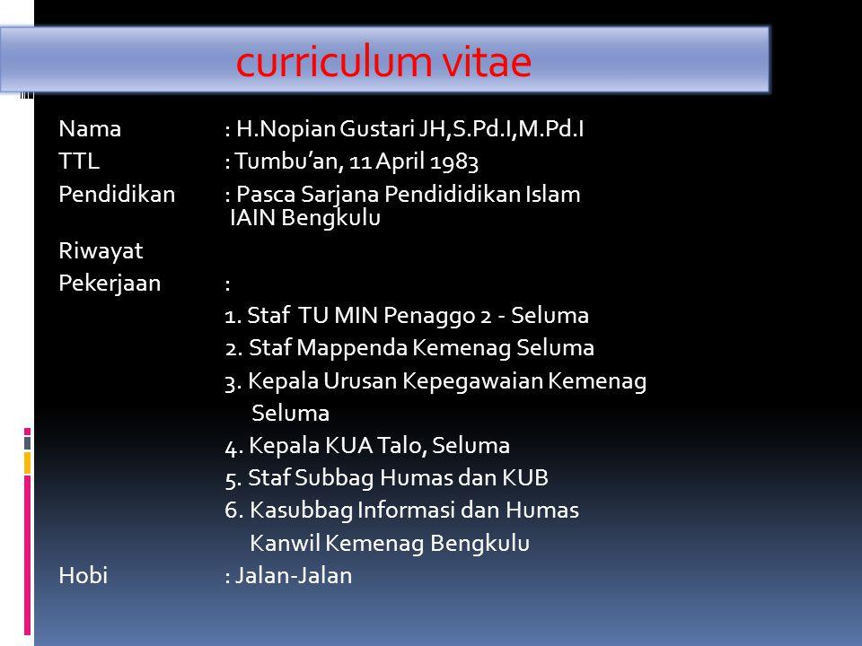curriculum vitae Nama : H.Nopian Gustari JH,S.Pd.I,M.Pd.I TTL: Tumbu'an, 11 April 1983 Pendidikan : Pasca Sarjana Pendididikan Islam IAIN Bengkulu Riw