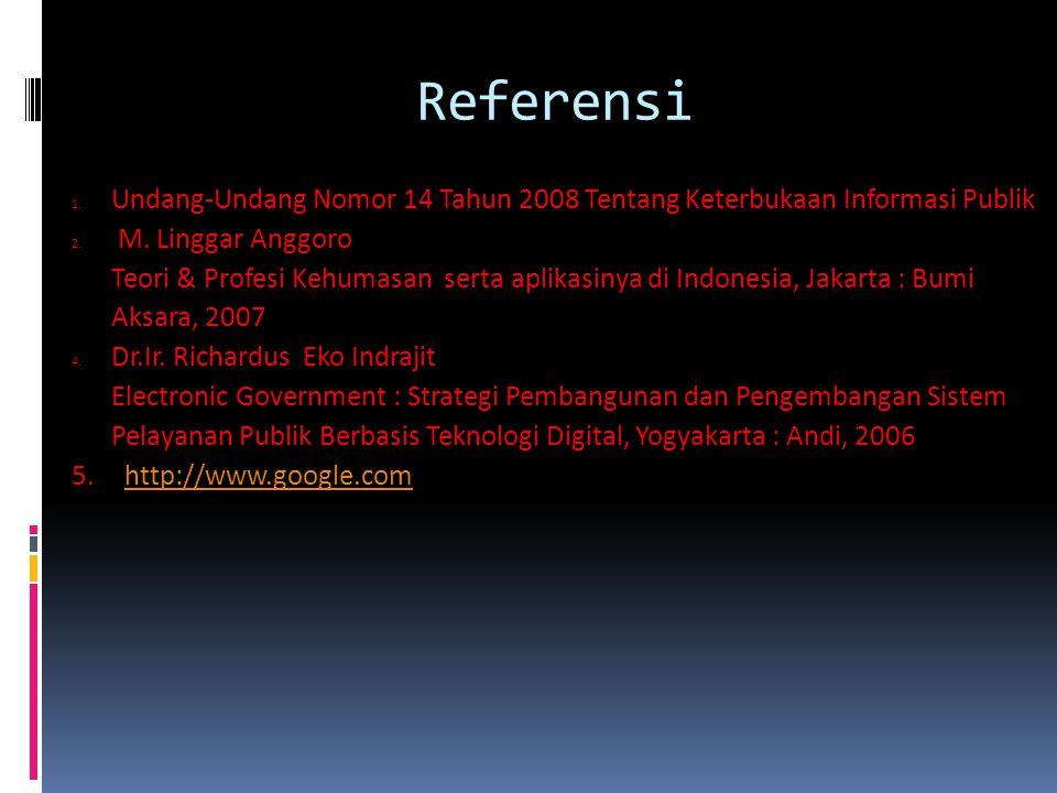 Referensi 1. Undang-Undang Nomor 14 Tahun 2008 Tentang Keterbukaan Informasi Publik 2. M. Linggar Anggoro Teori & Profesi Kehumasan serta aplikasinya