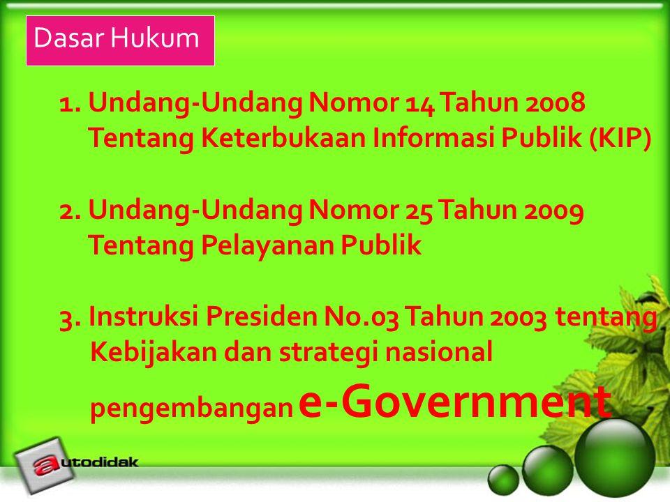 1. Undang-Undang Nomor 14 Tahun 2008 Tentang Keterbukaan Informasi Publik (KIP) 2. Undang-Undang Nomor 25 Tahun 2009 Tentang Pelayanan Publik 3. Instr
