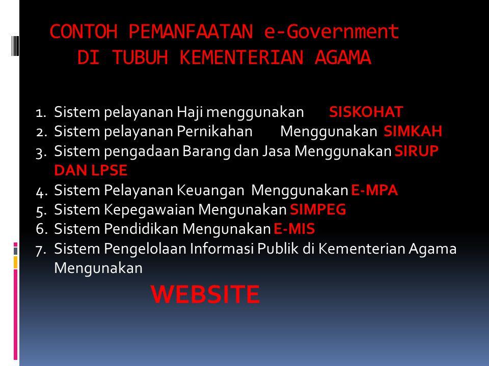 CONTOH PEMANFAATAN e-Government DI TUBUH KEMENTERIAN AGAMA 1.Sistem pelayanan Haji menggunakan SISKOHAT 2.Sistem pelayanan PernikahanMenggunakan SIMKA