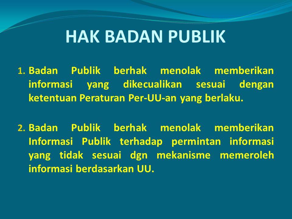 HAK BADAN PUBLIK 1. Badan Publik berhak menolak memberikan informasi yang dikecualikan sesuai dengan ketentuan Peraturan Per-UU-an yang berlaku. 2. Ba