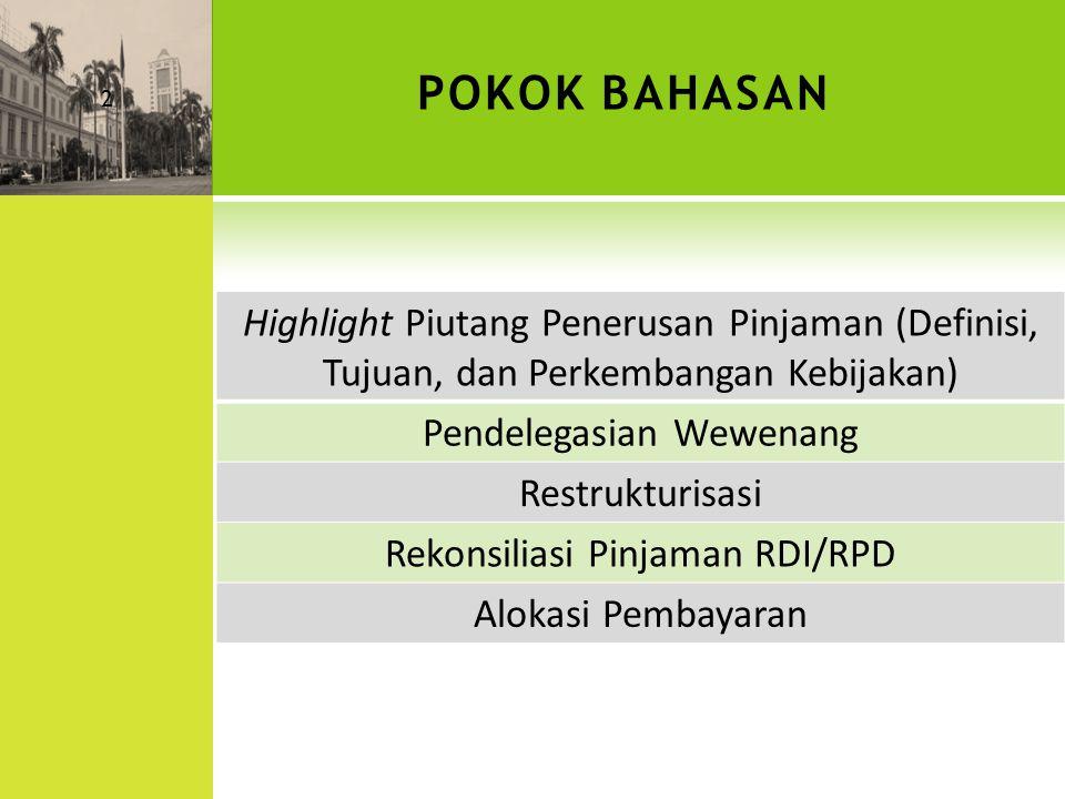 DEFINISI DAN LATAR BELAKANG SLA, RDI, & RPD  SLA adalah Penerusan Pinjaman yang berasal dari Pinjaman/Hibah dari dalam /luar negeri kepada BUMN/PDAM/Pemda dan penerima lainnya  RDI & RPD adalah Rekening pemerintah yang dibuka di Bank Indonesia yang digunakan untuk menampung pembayaran kembali pokok dan bunga pinjaman yang berasal dari pinjaman BUMN/Pemda/BUMD dan dapat dipinjamkan kembali untuk keperluan pembiayaan investasi dan tujuan lain dalam rangka memenuhi kebutuhan pemerintah  RDI dibentuk oleh Dewan Moneter berdasarkan Keputusan Dewan Moneter No.