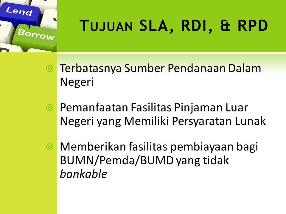 PERIODE TAHUN 1971 -1979 PERIODE 1980 SD 2006 PERIODE 2007 DAN SETERUSNYA Tahun 1972 sd 1981 dilaksanakan oleh Bank Indonesia Tahun 1981 sampai sekarang dilaksanakan oleh Kementerian Keuangan 1.RDI DIPERGUNAKAN UNTUK MENAMPUNG KEMBALI PINJAMAN YANG BERASAL DARI PENERUSAN PINJAMAN LUAR NEGERI (SLA) 1.REPOSISI RDI SEBAGAI REKENING PENERIMAAN PENGEMBALIAN PINJAMAN YANG MERUPAKAN BAGIAN DARI REKENING KAS UMUM NEGARA 2.RDI DAPAT DIPINJAMKAN SECARA LANGSUNG KEPADA BUMN/PDAM/PEMDA SEBAGAI DANA PENDAMPING PINJAMAN LUAR NEGERI 2.TIDAK LAGI DIPINJAMKAN/ (DIGULIRKAN) DAN DISETORKAN SELURUHNYA KE DALAM REKENING KAS UMUM NEGARA.