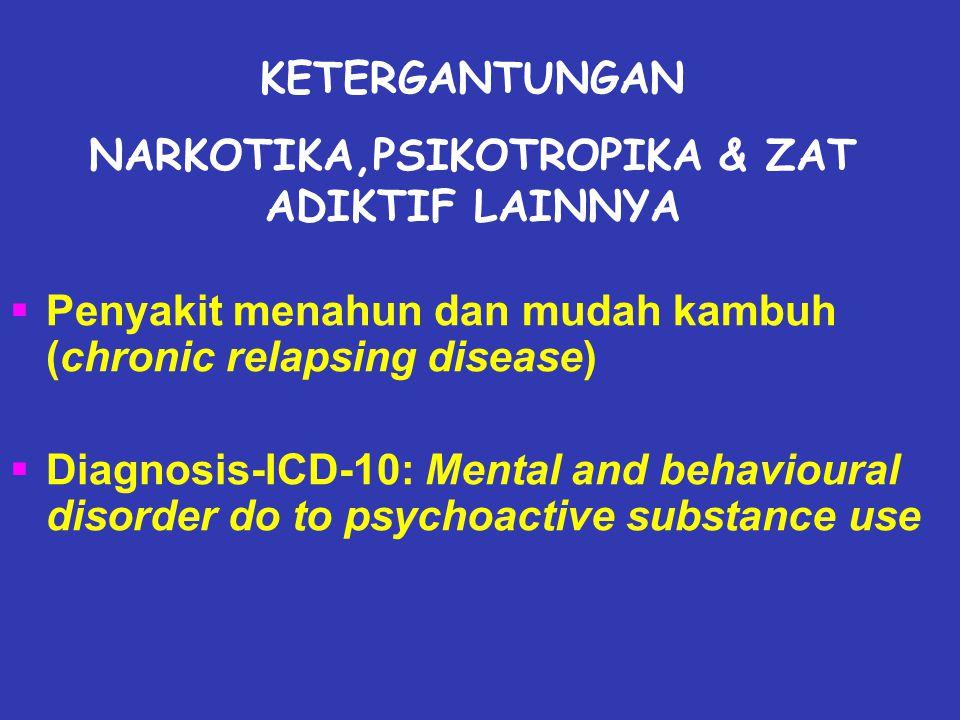  Penyakit menahun dan mudah kambuh (chronic relapsing disease)  Diagnosis-ICD-10: Mental and behavioural disorder do to psychoactive substance use KETERGANTUNGAN NARKOTIKA,PSIKOTROPIKA & ZAT ADIKTIF LAINNYA
