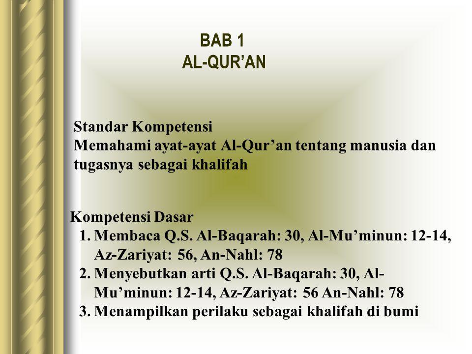Standar Kompetensi Memahami ayat-ayat Al-Qur'an tentang manusia dan tugasnya sebagai khalifah Kompetensi Dasar 1.Membaca Q.S. Al-Baqarah: 30, Al-Mu'mi
