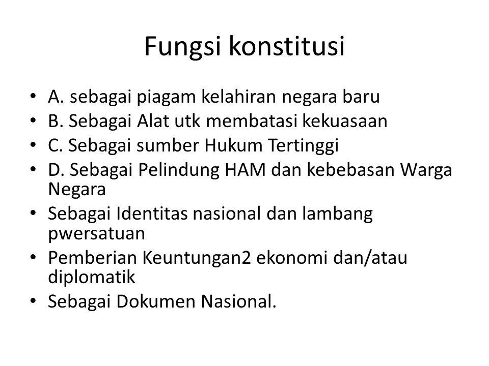 Fungsi konstitusi A.sebagai piagam kelahiran negara baru B.