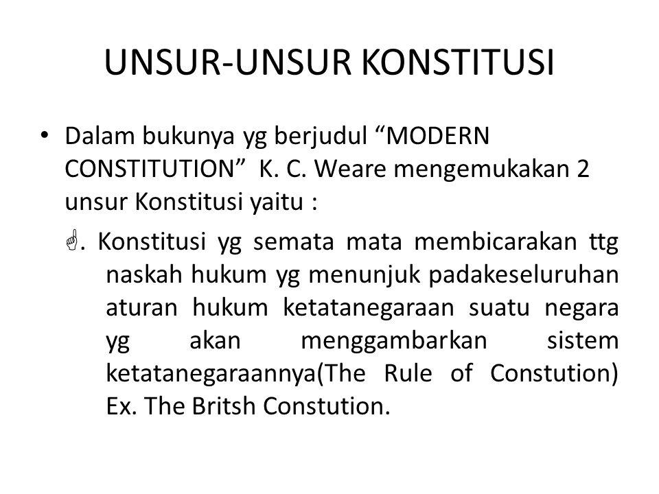 """UNSUR-UNSUR KONSTITUSI Dalam bukunya yg berjudul """"MODERN CONSTITUTION"""" K. C. Weare mengemukakan 2 unsur Konstitusi yaitu : . Konstitusi yg semata mat"""