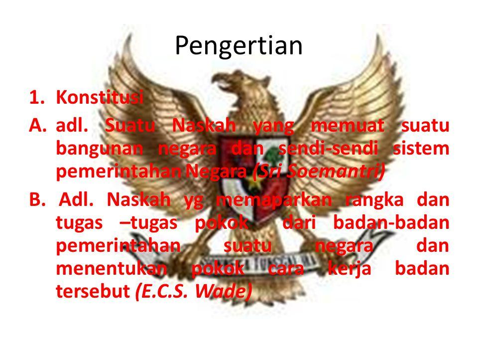 Pengertian 1.Konstitusi A.adl.