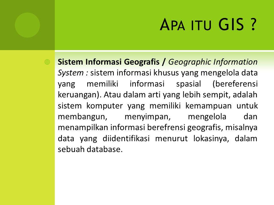 A PA ITU GIS ?  Sistem Informasi Geografis / Geographic Information System : sistem informasi khusus yang mengelola data yang memiliki informasi spas
