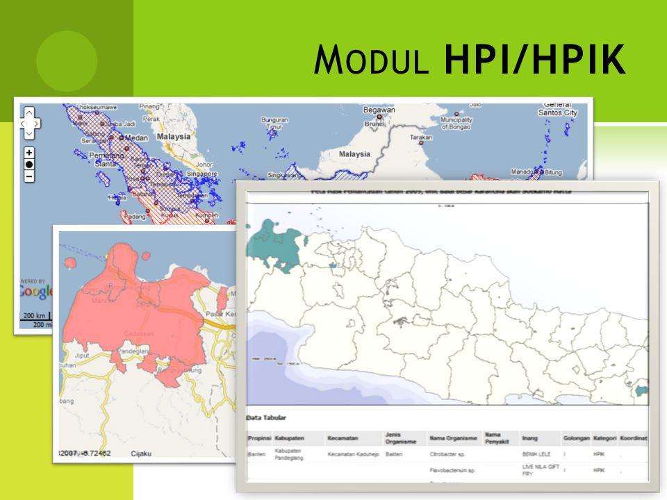 C ONTOH M ODUL HPI/HPIK  Warna Merah : Sebaran Seluruh Pulau  Warna Biru : Sebaran Satu Propinsi / Kabupaten / Kecamatan