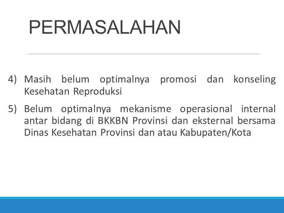 PERMASALAHAN 4)Masih belum optimalnya promosi dan konseling Kesehatan Reproduksi 5)Belum optimalnya mekanisme operasional internal antar bidang di BKK