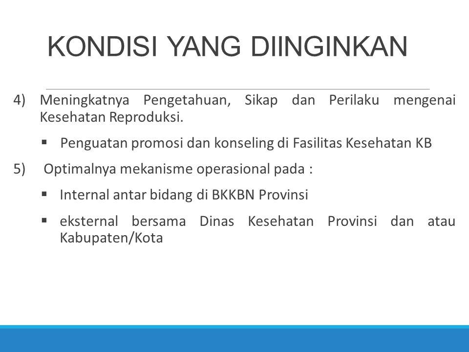 KONDISI YANG DIINGINKAN 4)Meningkatnya Pengetahuan, Sikap dan Perilaku mengenai Kesehatan Reproduksi.  Penguatan promosi dan konseling di Fasilitas K