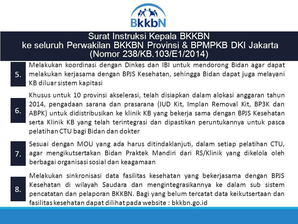 Surat Instruksi Kepala BKKBN ke seluruh Perwakilan BKKBN Provinsi & BPMPKB DKI Jakarta (Nomor 238/KB.103/E1/2014) 5.5. 6.6. 7.7. 8.8. Melakukan koordi