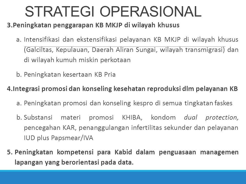STRATEGI OPERASIONAL 3.Peningkatan penggarapan KB MKJP di wilayah khusus a.Intensifikasi dan ekstensifikasi pelayanan KB MKJP di wilayah khusus (Galci