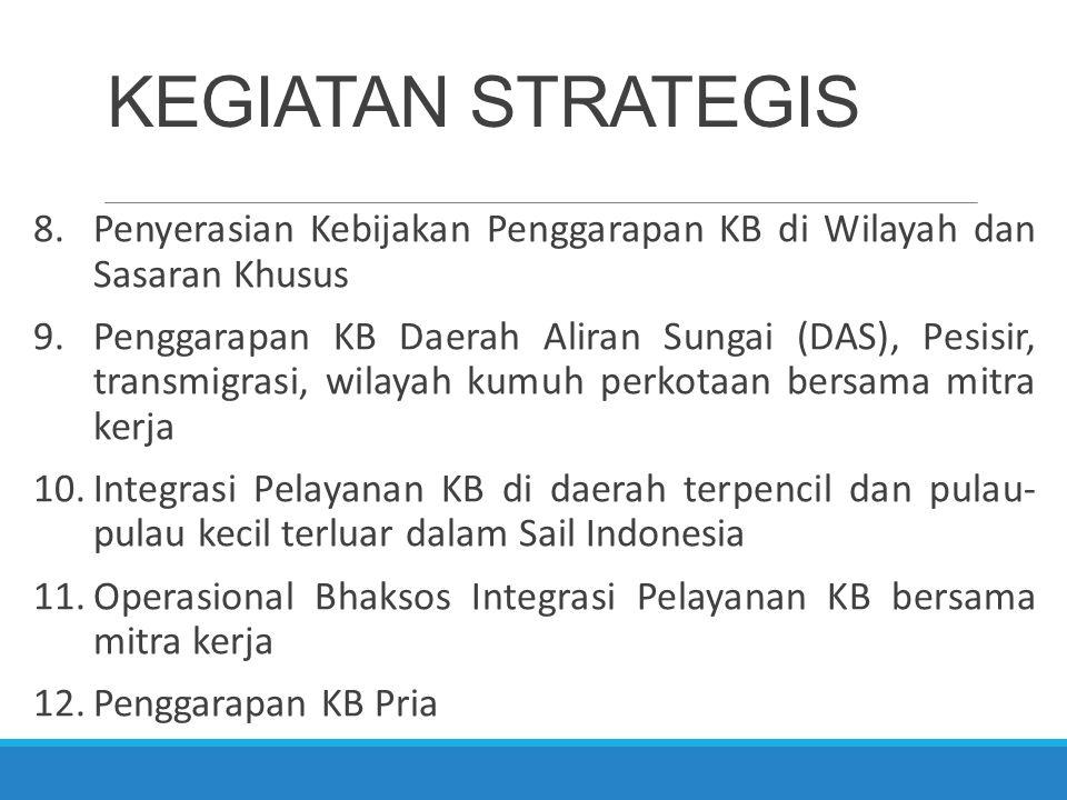 KEGIATAN STRATEGIS 8.Penyerasian Kebijakan Penggarapan KB di Wilayah dan Sasaran Khusus 9.Penggarapan KB Daerah Aliran Sungai (DAS), Pesisir, transmig