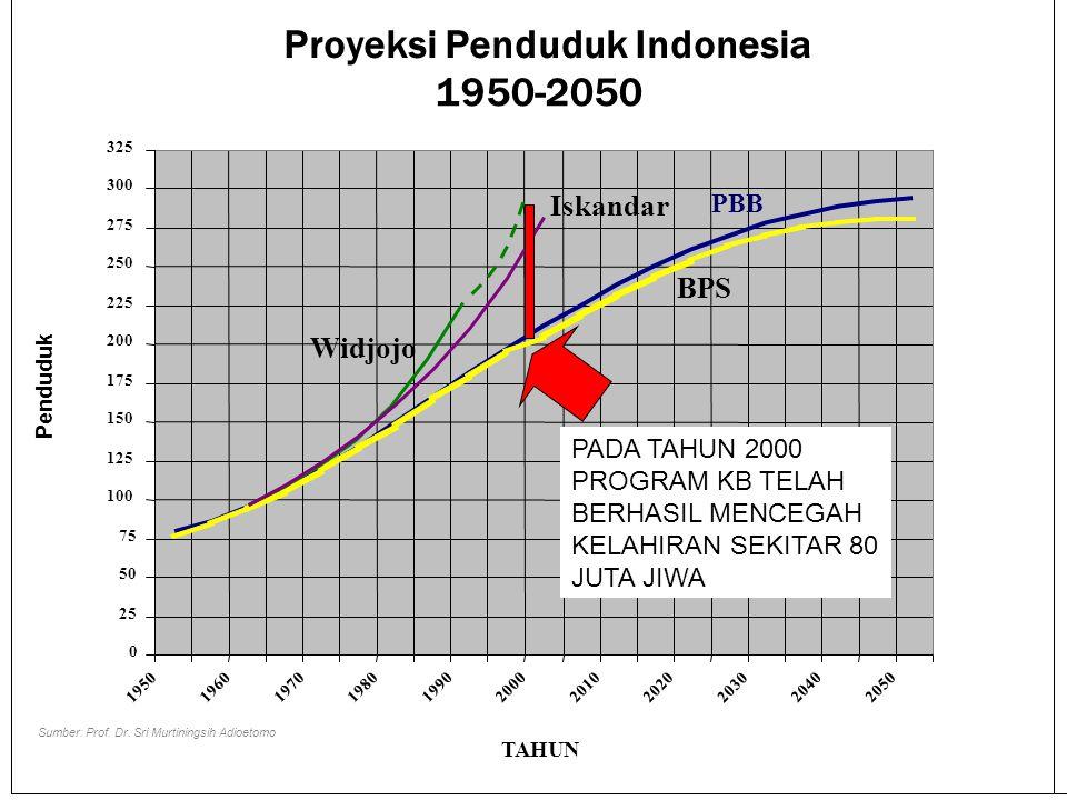 Proyeksi Penduduk Indonesia 1950-2050 0 25 50 75 100 125 150 175 200 225 250 275 300 325 1950 1960 1970 1980 199020002010 2020 2030 20402050 TAHUN Pen