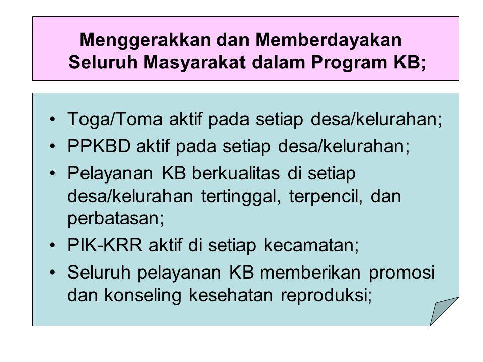 Menggerakkan dan Memberdayakan Seluruh Masyarakat dalam Program KB; Toga/Toma aktif pada setiap desa/kelurahan; PPKBD aktif pada setiap desa/kelurahan