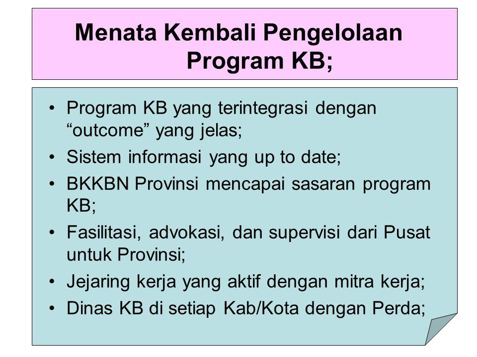 """Menata Kembali Pengelolaan Program KB; Program KB yang terintegrasi dengan """"outcome"""" yang jelas; Sistem informasi yang up to date; BKKBN Provinsi menc"""